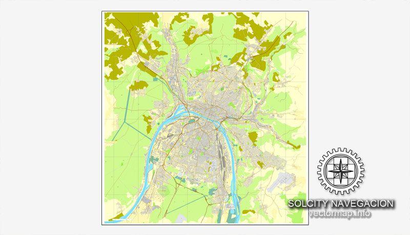 PDF Map Rouen, France, printable vector street City Plan map, full ...