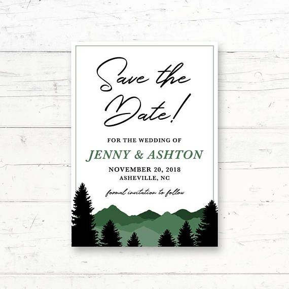 Forest Mountains Printable Save the Date Card Wedding Announcement