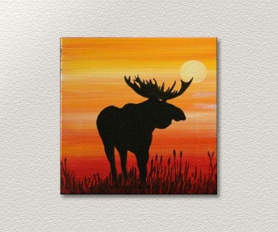 Mooseful Animal Oil Painting On Canvas Moose Painting Animal Canvas Moose Painting Canvas Painting