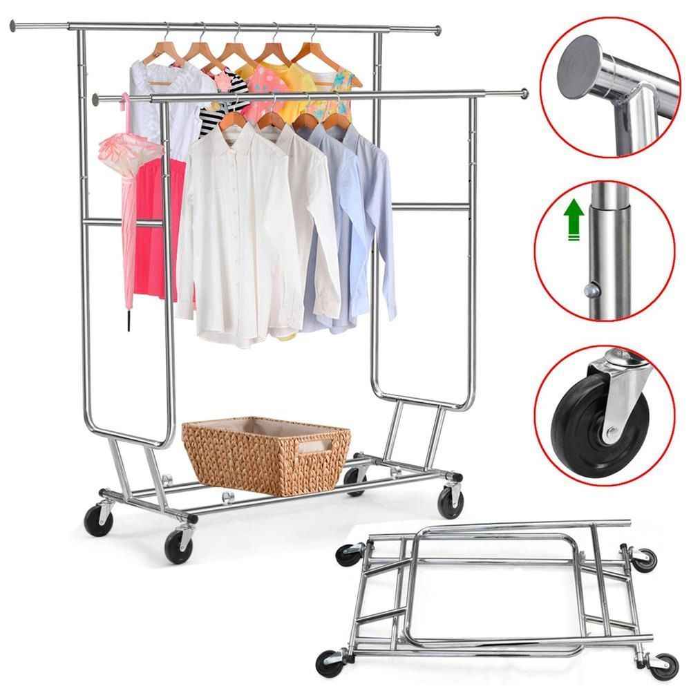 Walmart Clothes Hanger Rack Classy New Chrome Clothing Rack Rolling Garment Rack Doublerail Clothing Design Ideas