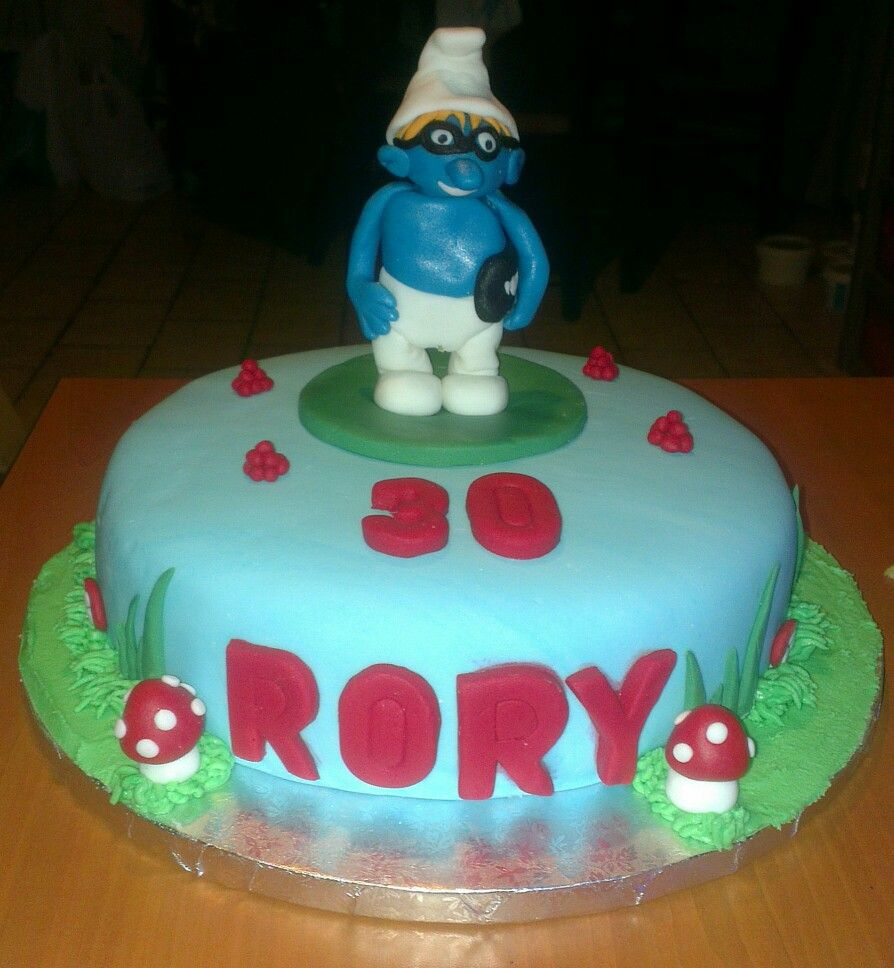 Rory's 30th Smurf Village cake