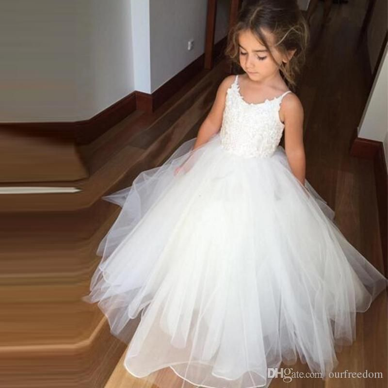 Cheap flower girls dresses tulle lace top spaghetti formal kids wear 2017 new lovely white flower girl dresses puffy tulle first communion dress for mightylinksfo