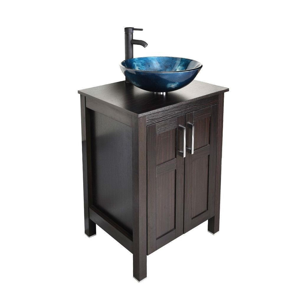 Complete Bathroom Vanity Set With Dark Brown Cabinet Blue Glass