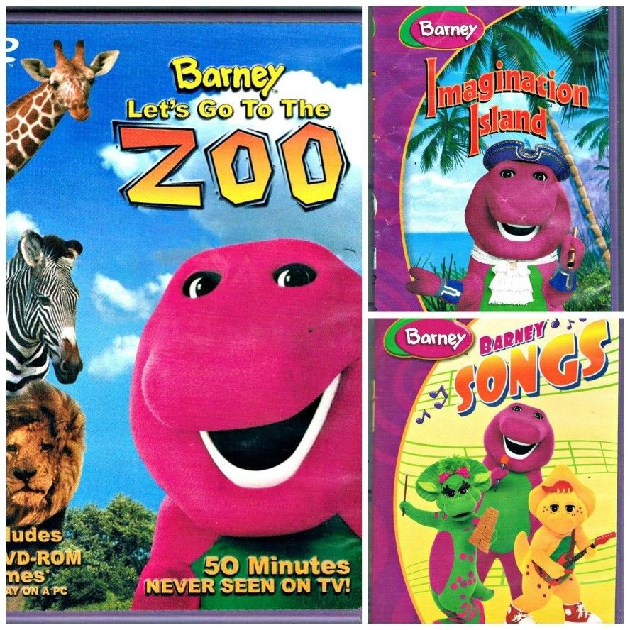 3 Barney DVDs Lets Go to the Zoo and Songs and Imagination Island ...
