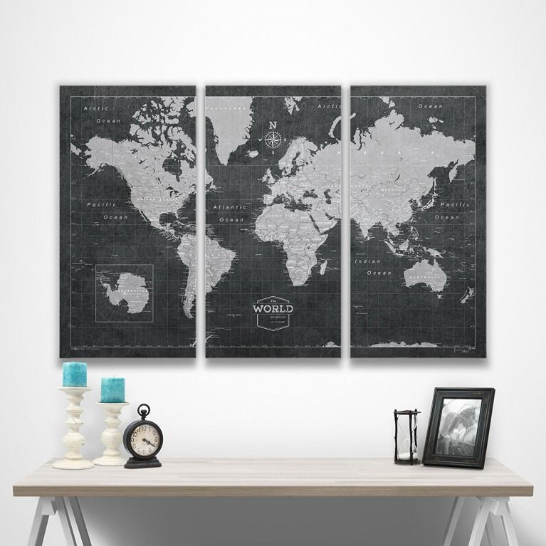 World travel map with pins conquest maps modern slate style push world travel map with pins conquest maps modern slate style push pin travel map cork board to track you travels gumiabroncs Choice Image