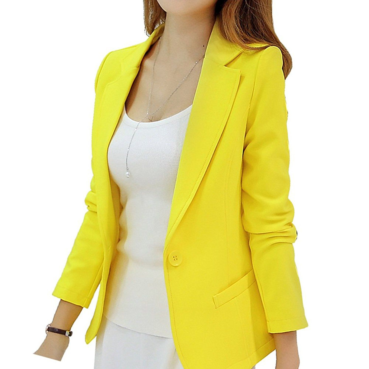 c293be75c15 HaoMing Long Sleeve Solid Color Casual Work Office Blazer Jacket for Women  Girls     This is an Amazon Affiliate link. For more information