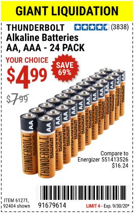 Thunderbolt Alkaline Batteries For 4 99 Coupon Book Alkaline Battery Harbor Freight Tools