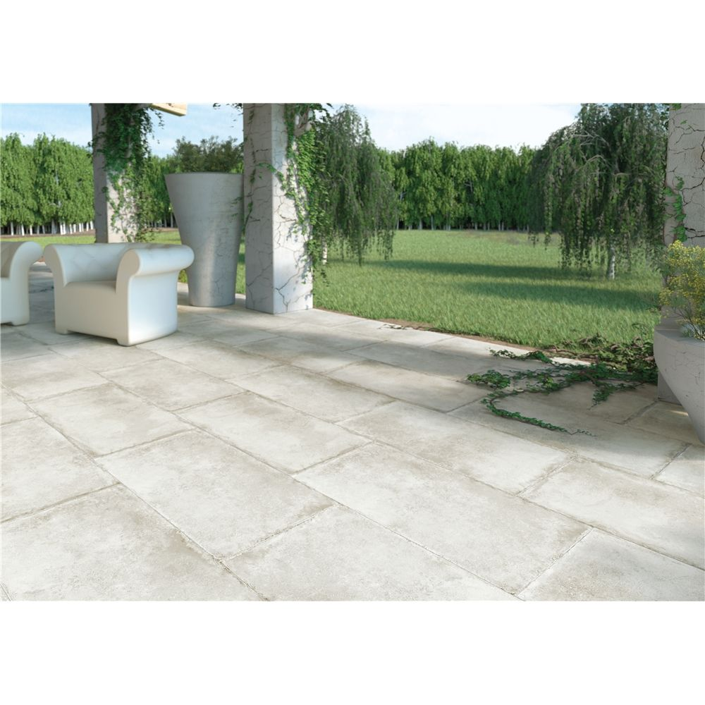 Carrelage terrasse anti d rapant effet pierre 50x100 for Carrelage piscine blanc