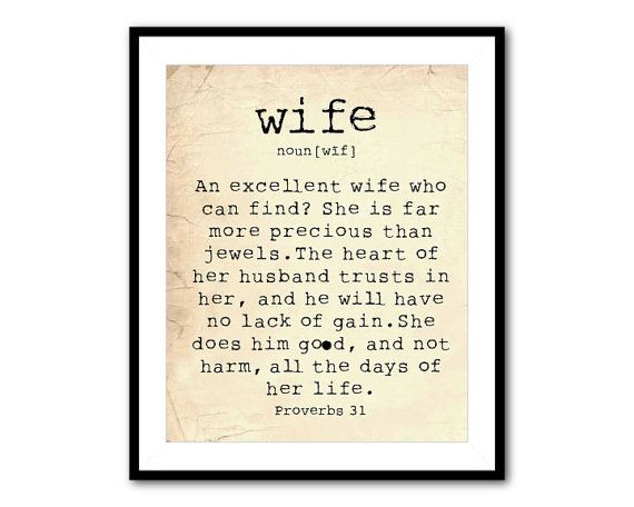Anniversary Gift Wall Art Wife Bible Quote An Excellent Wife