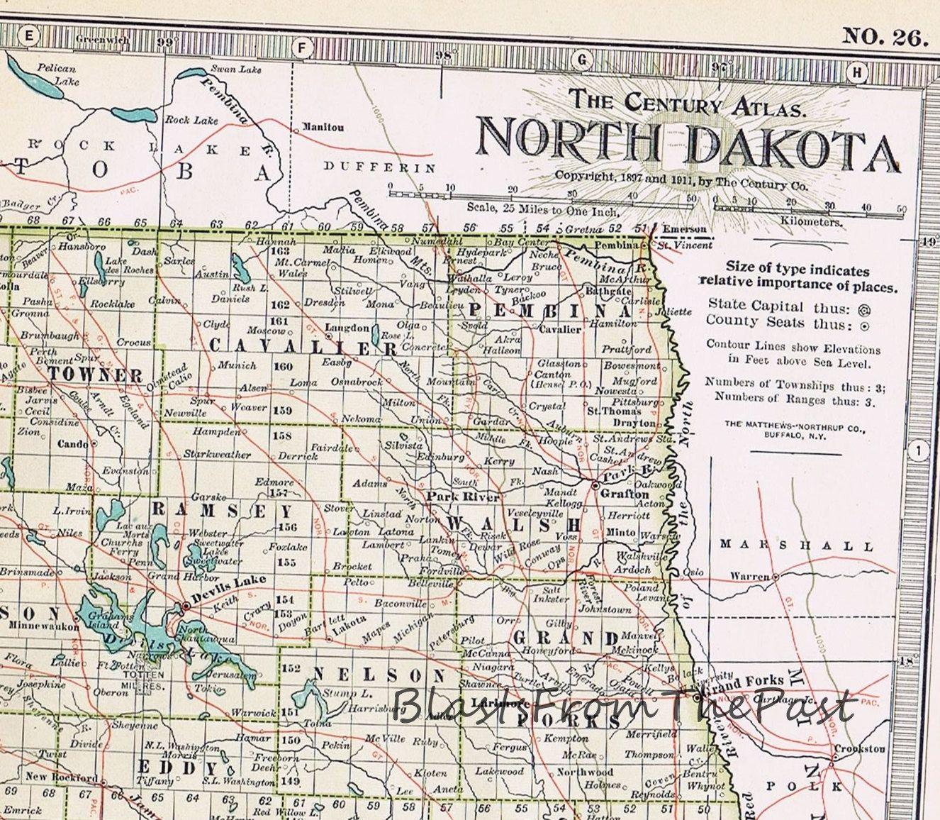1911 Antique MAP of NORTH DAKOTA Authentic Large Scale Century