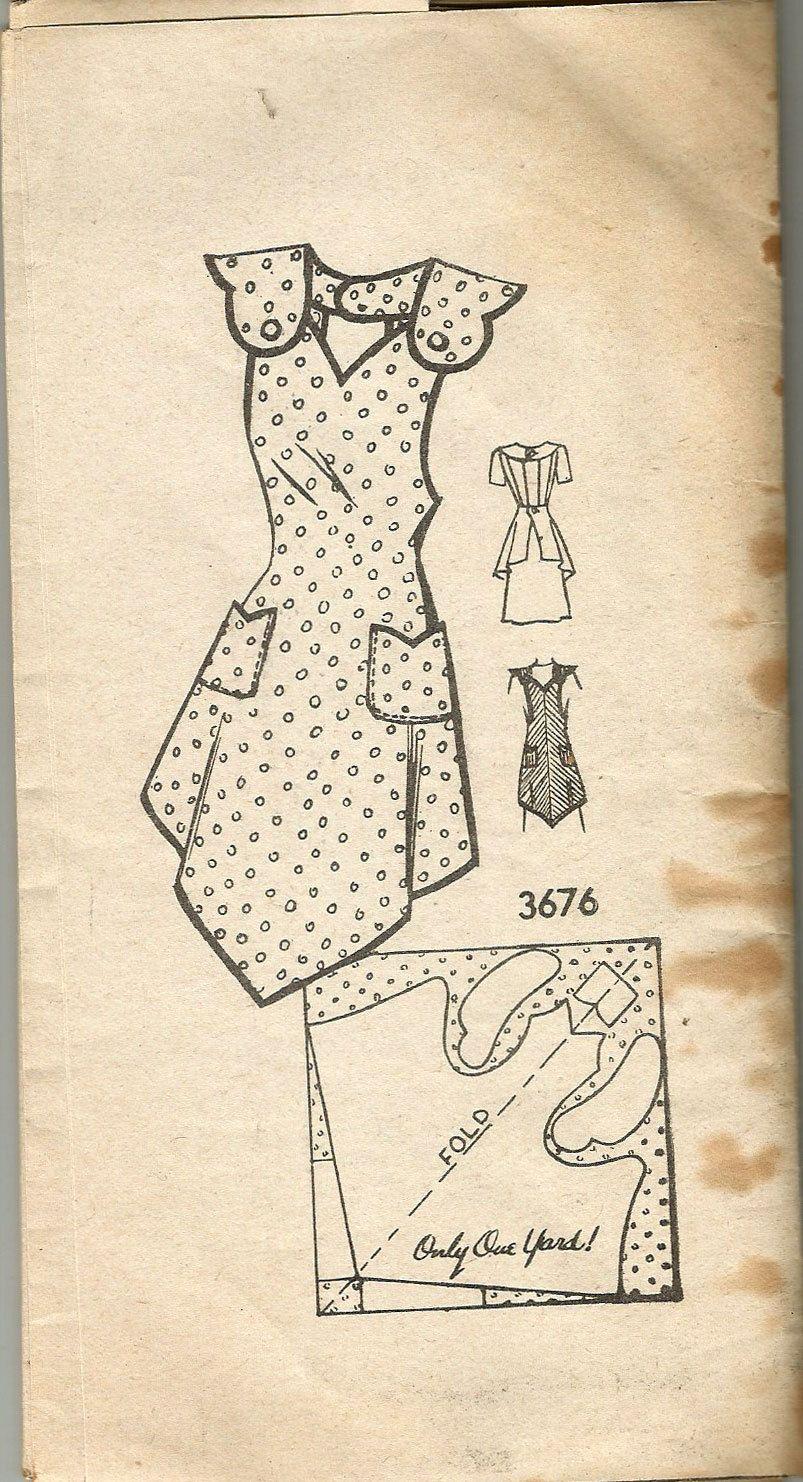 Vintage 30s babero delantal patrón un patio mediano 36-38 | Patrones ...