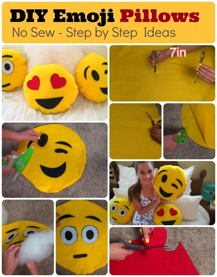 Diy Emoji Pillows 2 No Sew And Sew Glue Method With Pictures Emoji Pillows Diy Emoji Pillows Emoji Craft
