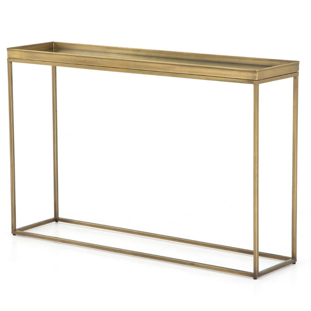 Kline Antique Brass Narrow Console Table 48 Zin Home