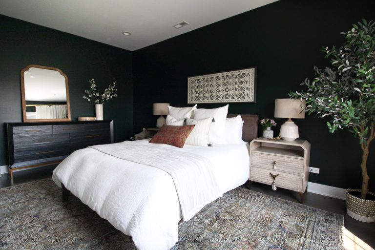 Dark Green Guest Room With Boho Style Green Rooms Bedroom Green