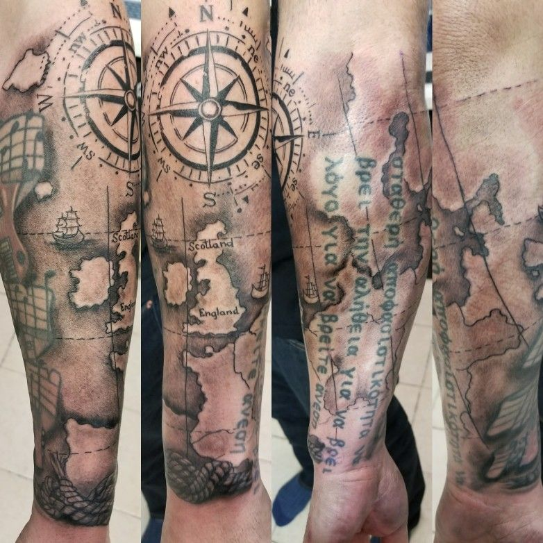 Map and compass sailors tattoo canada tattoo sailor