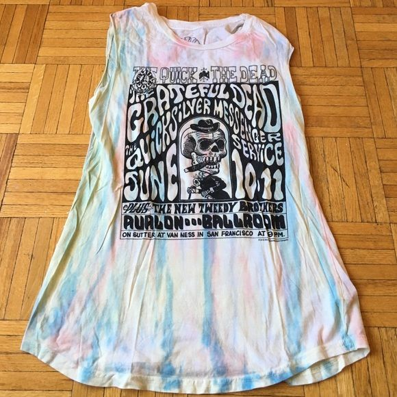 Chaser Grateful Dead Tank Chaser printed tie-dye Grateful Dead cutoff tank top Chaser Tops Tank Tops