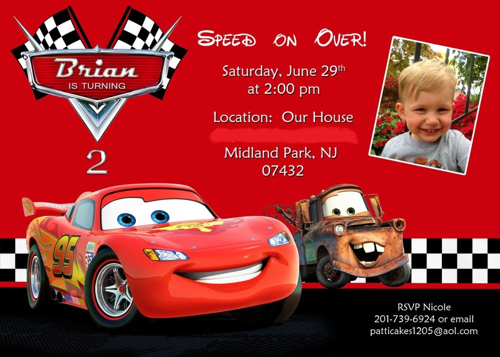 cars birthday invites