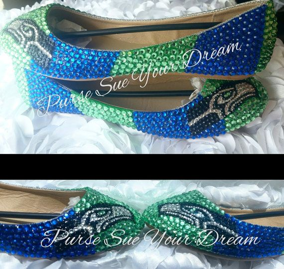1997a1264 Seattle Seahawks Themed Custom Ballet Flats Shoes - Seahawk Football -  Custom Shoes - Swarovski Crystals