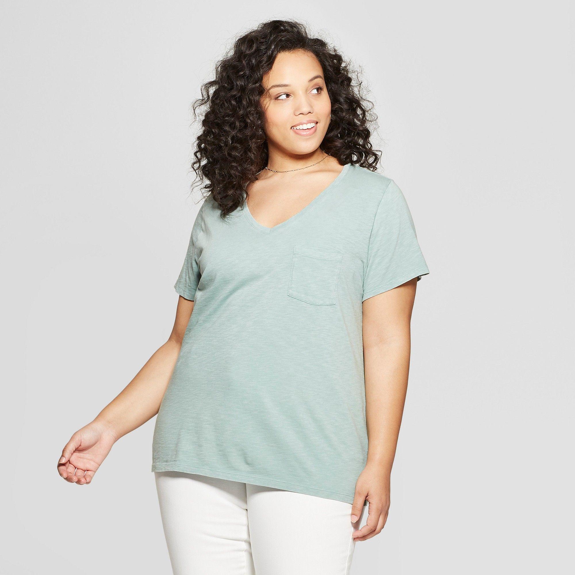 f1264272 Women's Plus Size Short Sleeve Pocket V-Neck T-Shirt - Universal Thread  Green 1X
