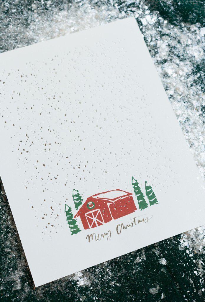 Custom Christmas gift Letter press art print - Merry Christmas Barn