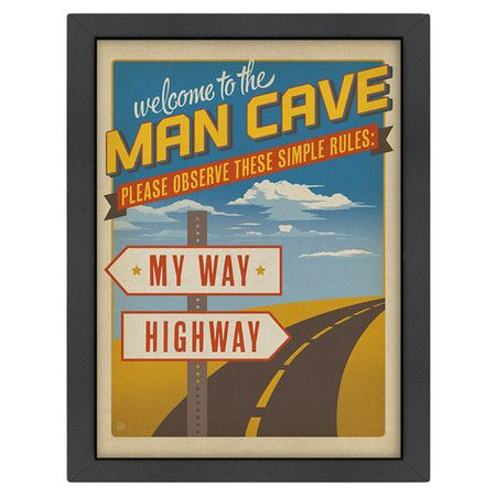 Bring a retro touch to your game room or home bar with this eye-catching framed print, showcasing a road sign motif and typographic details.   ...