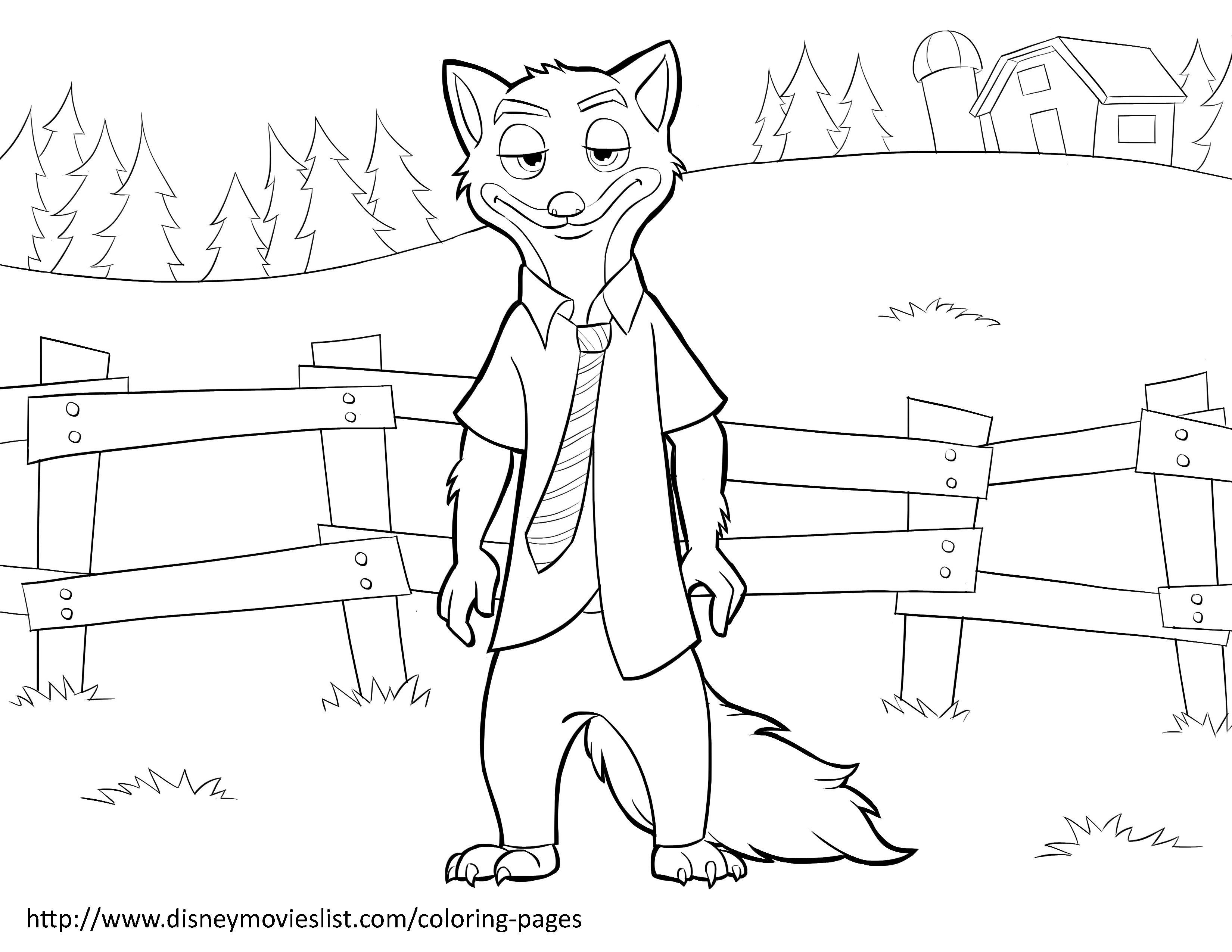 Zootopia Coloring Pages Free. Disney s ZootopiaNick Wilde Coloring Page  Zootopia