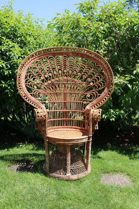 Awesome Vintage Emmanuelle Peacock Chair Rattan High Back Fan Gmtry Best Dining Table And Chair Ideas Images Gmtryco