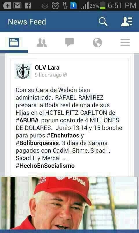 Rafael Ramirez el comunista rojo rojito ladrón de Venezuela, prepara boda de una hija en el Ritz Carlton de Aruba con nuestro dinero.