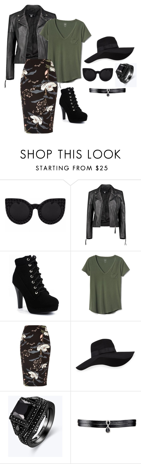 """""""3"""" by thaianemarrocos ❤ liked on Polyvore featuring Delalle, Boohoo, Gap, River Island, San Diego Hat Co. and Fallon"""