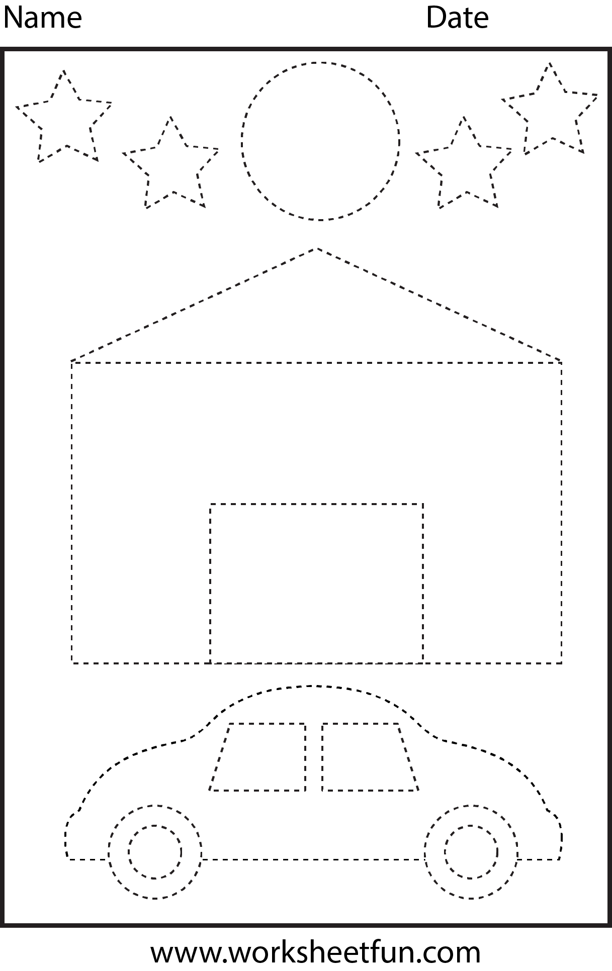 House, car, moon & stars tracing worksheet | Tracing Worksheets ...