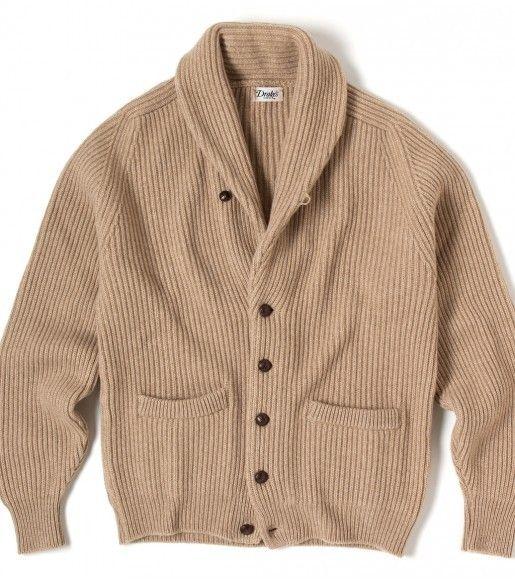 Drakes Shawl Collar   Cashmere shawl, Shawl collar cardigan
