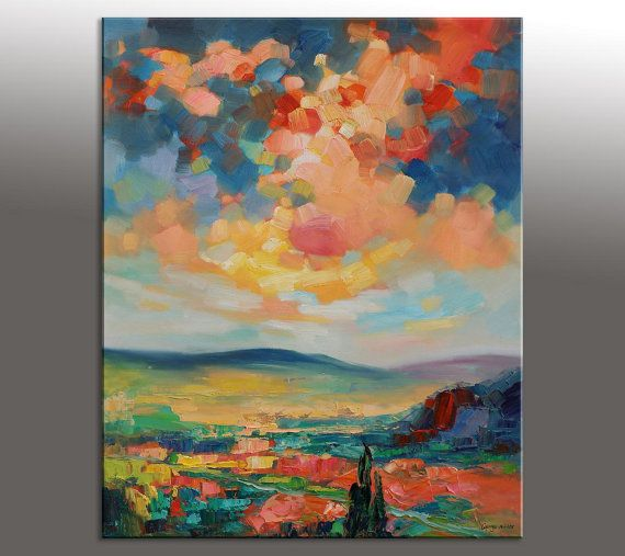 Landscape painting oil painting palette knife painting for Quadri facili da dipingere