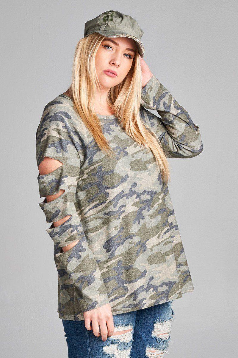 1ae810fa72244 Plus Size Janie Camo Cut Sleeve Top   Got Curves? Plus Size Fashion ...