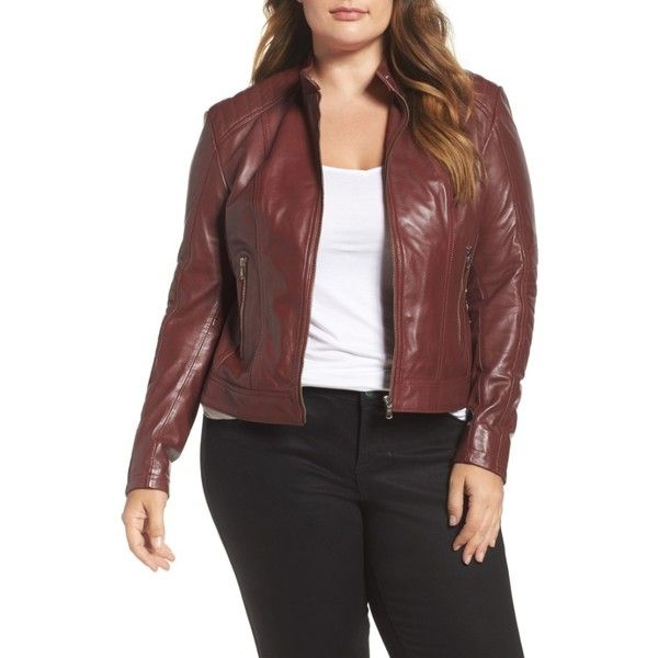 great look enjoy complimentary shipping world-wide free shipping Plus Size Women's Slink Jeans Leather Moto Jacket ($200 ...