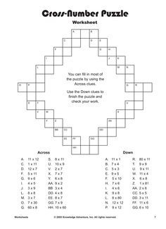 Cross Number Puzzle Printable Multiplication Worksheets For Kids Multiplication Worksheets Maths Puzzles Math For Kids