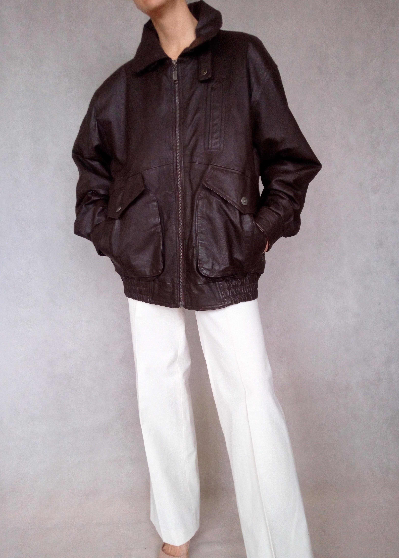 Vintage Men Brown Leather Jacket Leather Bomber Jacket With Etsy Leather Bomber Jacket Leather Jacket Brown Leather Jacket [ 4553 x 3255 Pixel ]