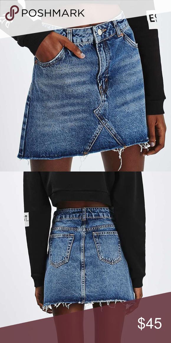 81582e5beaa7e7 Topshop Petite Moto Denim Pelmet Skirt Topshop Petite Moto Denim Pelmet  Skirt. Size 4. Brand new, never worn. Originally $55! Topshop Skirts