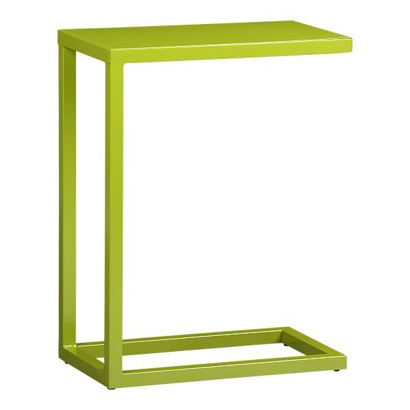 "Crate & Barrel's green C table, $59.95  (also available in grey)  10""Wx17.75""Dx23.5""H"