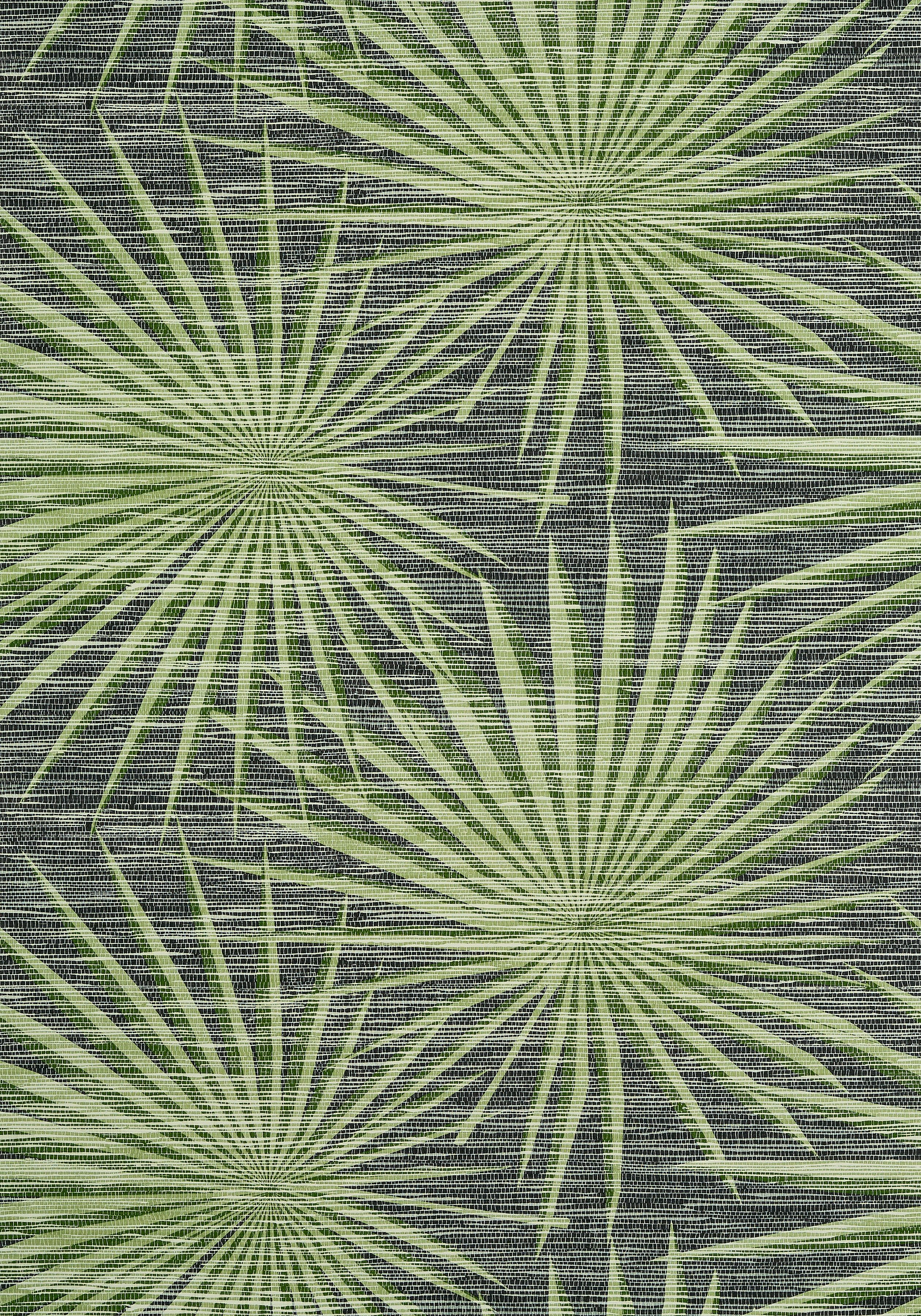PALM FROND, Black and Green, T10143, Collection Tropics