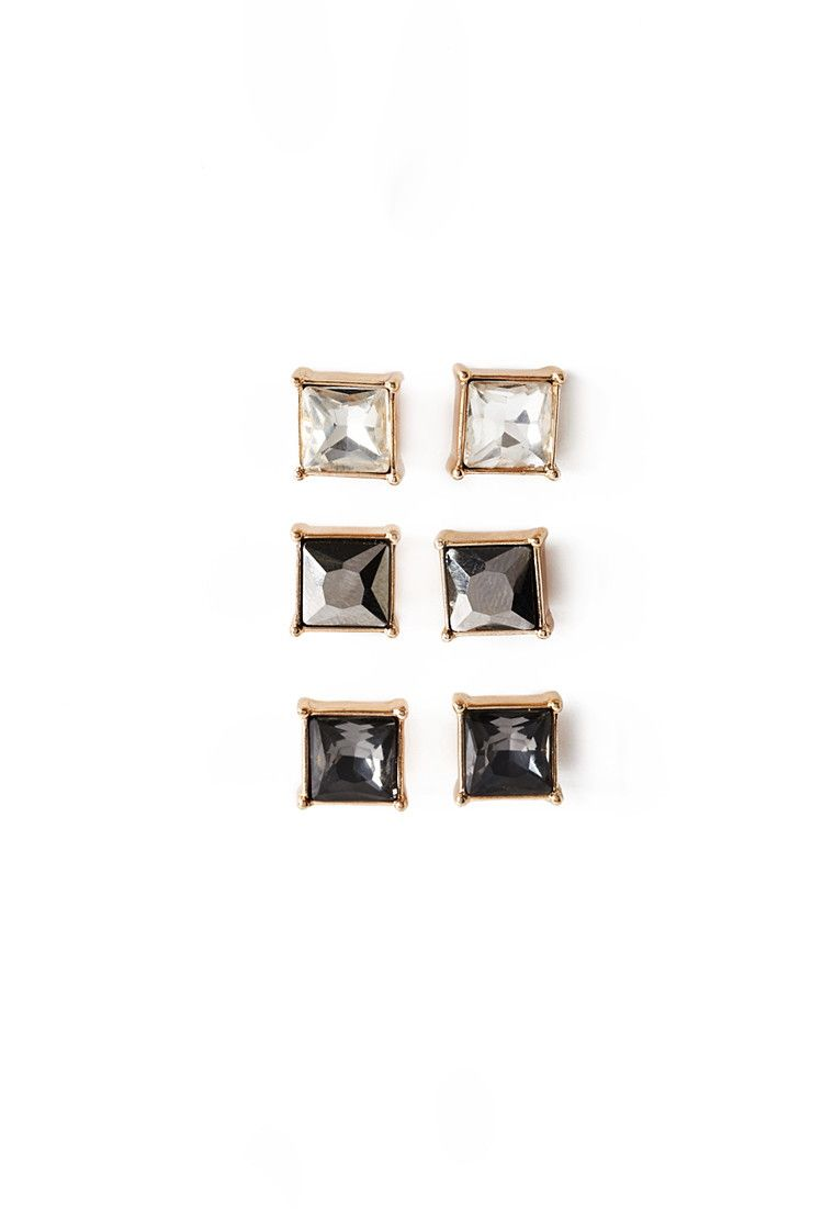 0ca9a38f8 Faceted Faux Gem Stud Set | Forever 21 - 1052288133 | Piercings ...