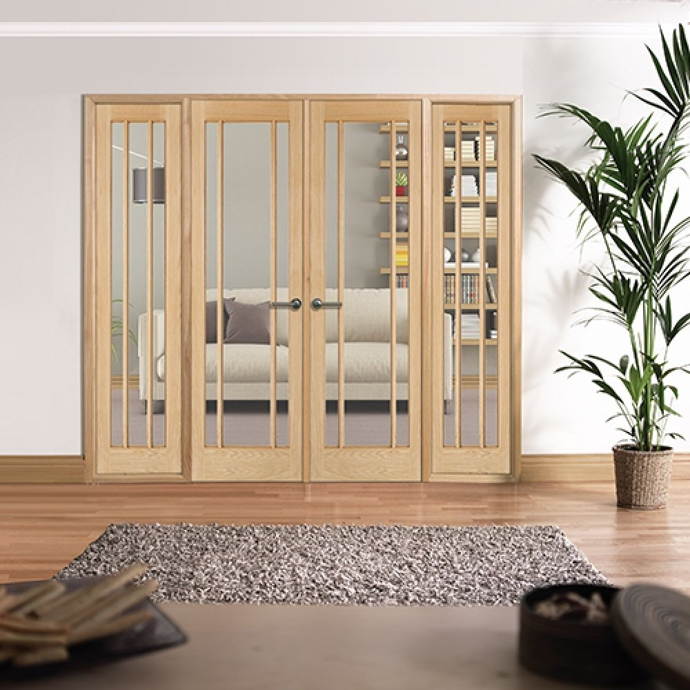 Internal double doors with side panels