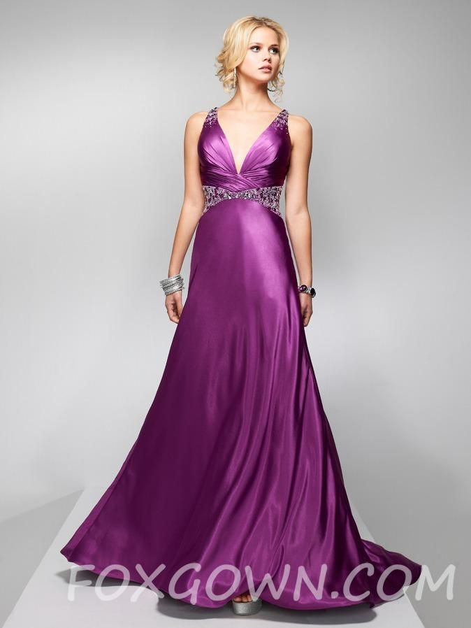 purple satin slim a-line sleeveless long prom dress | Bridal party ...