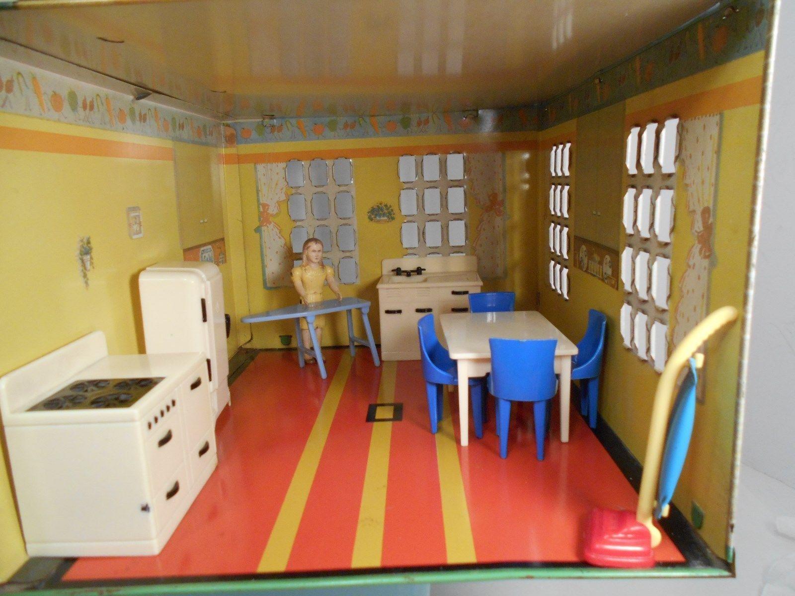 1948 F.W. Woolworthu0027s PLAYSTEEL Tin Litho DOLLHOUSE 5 Room Fully Furnished 1 :16 | EBay