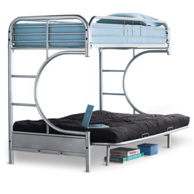Metal Frame Twin Bunk Bed Over C Shaped Futon Sears Twin Bunk Beds Bunk Beds Bed