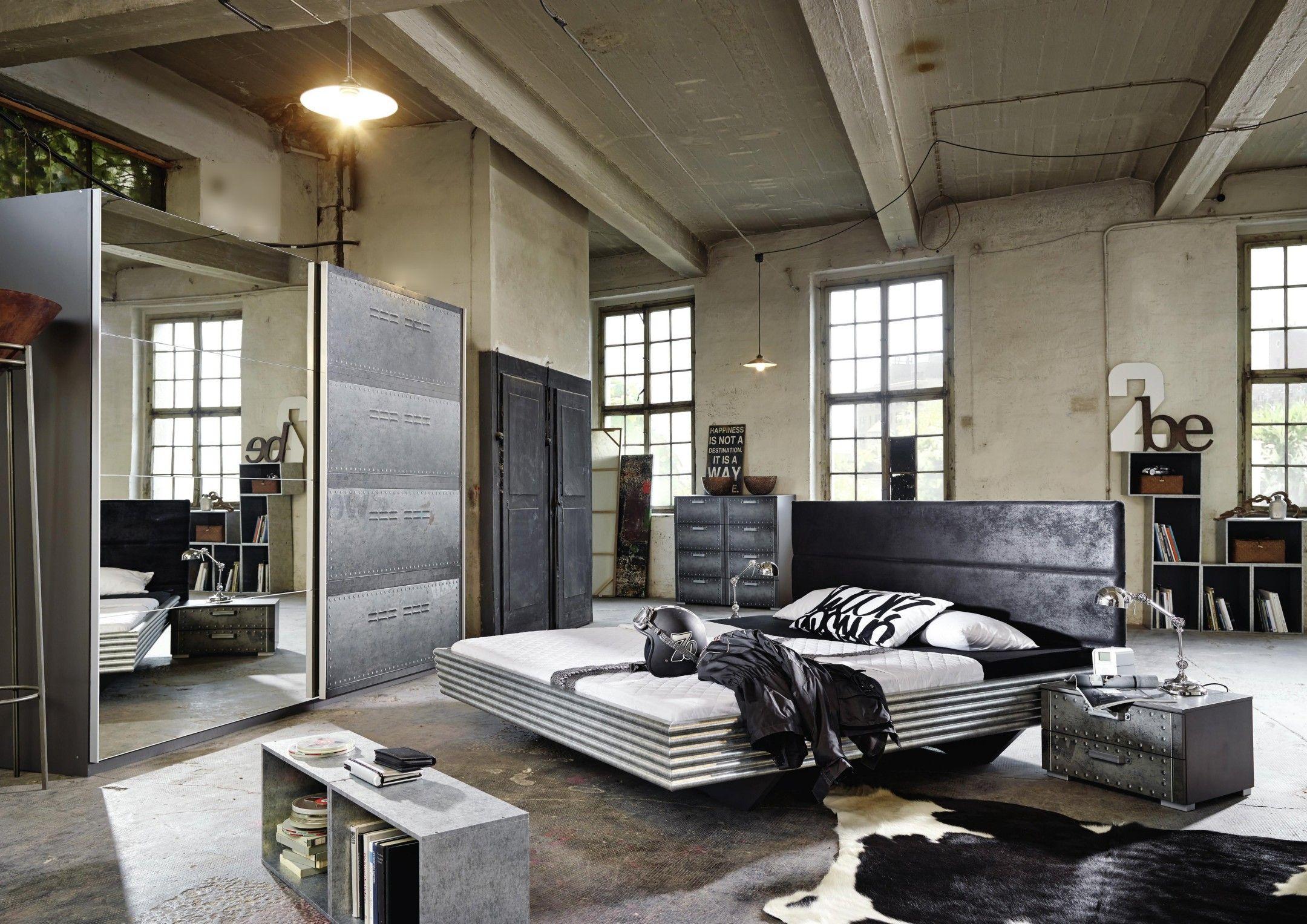 Jugendzimmer Mit Bett 140 X 200 Cm Industrial Print Optik Graphit Woody 127 00117 Woody Mobel Zimmer Dunkles Schlafzimmer