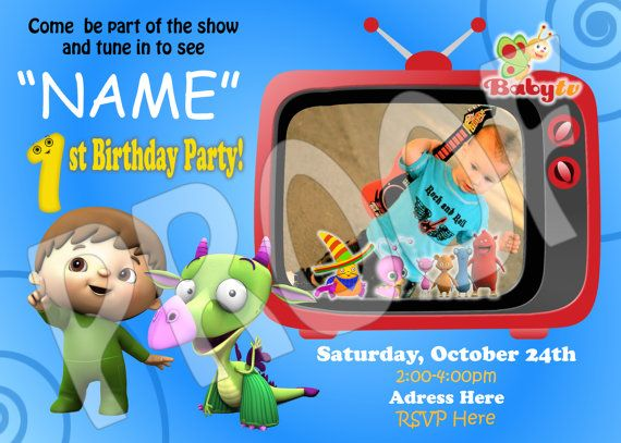 Babytv Birthday Card Invite Baby Tv 1st