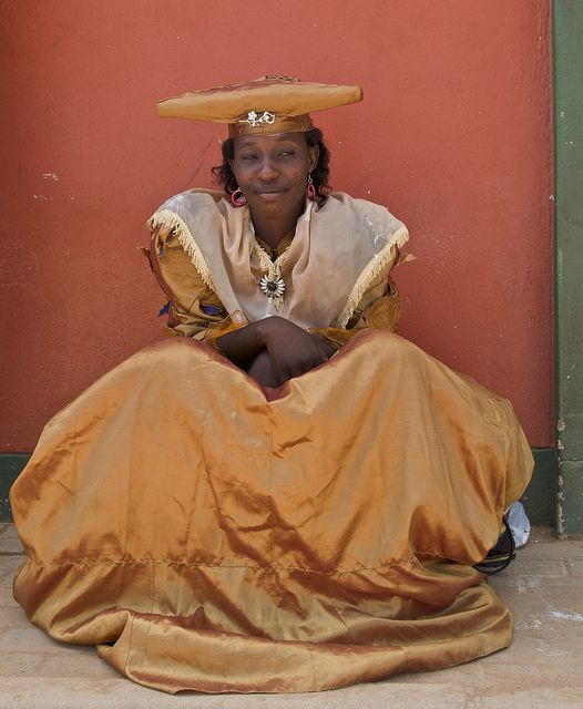 Africa | Herero woman in traditional clothing. Namibia | © Tim Thornton.