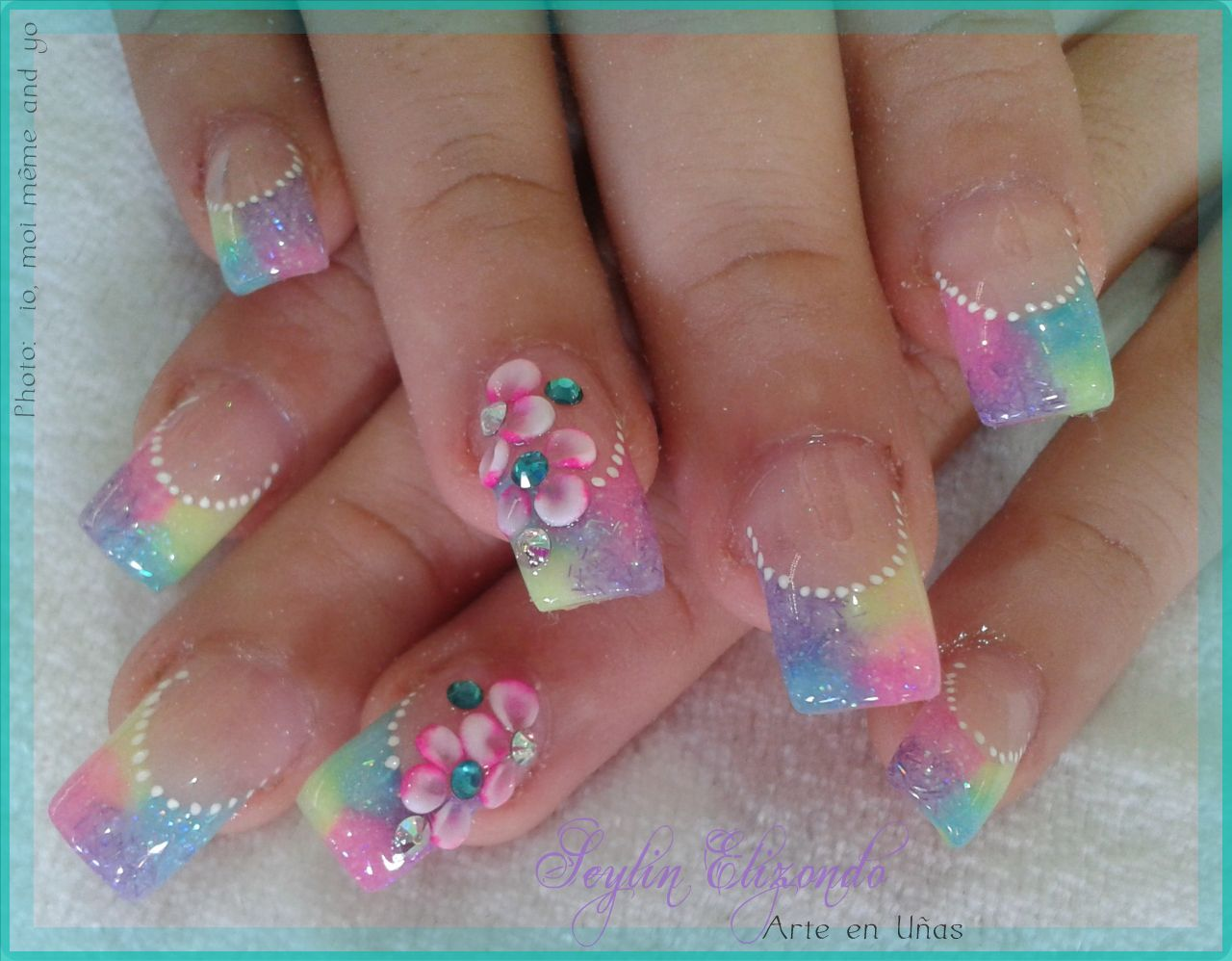 Uñas De Gel Decoradas Con Flores Diseño 7 Gel Acrylic Sculptured Nails En 2019 Uñas