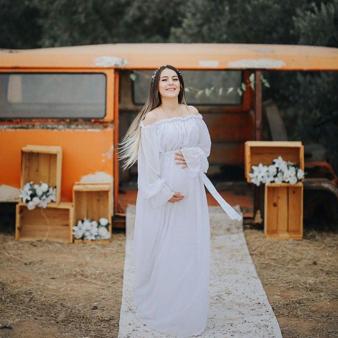c4c55e76471c8 Moda Labio - Babyshower Dökümlü Kol Hamile Elbisesi | Hamile Elbise ...