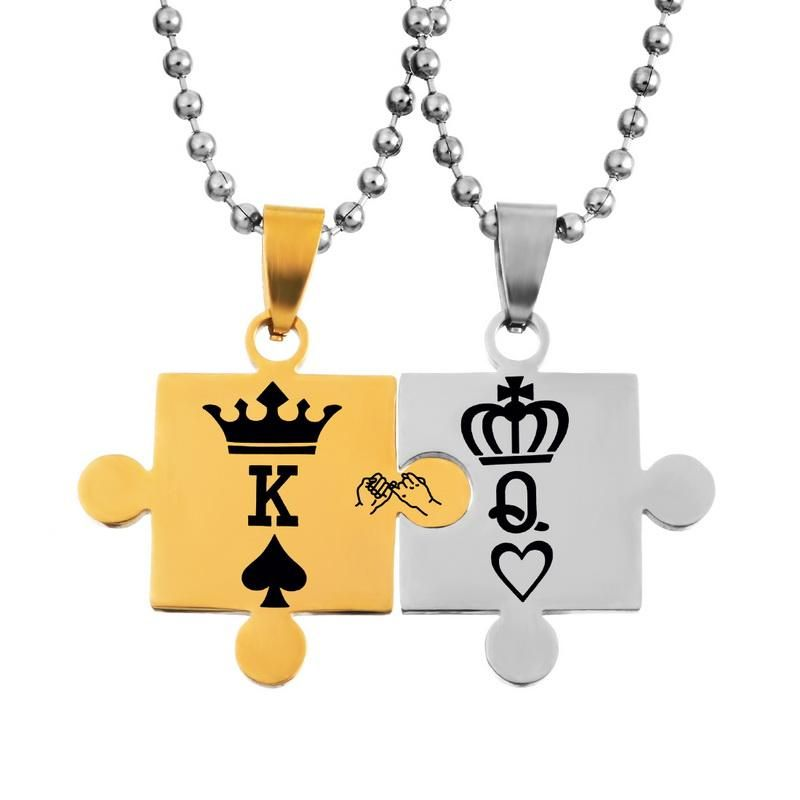 fe50077c22 Gifts for Her. Gifts for Him. King & Queen Jigsaw Pendant Couple Necklaces